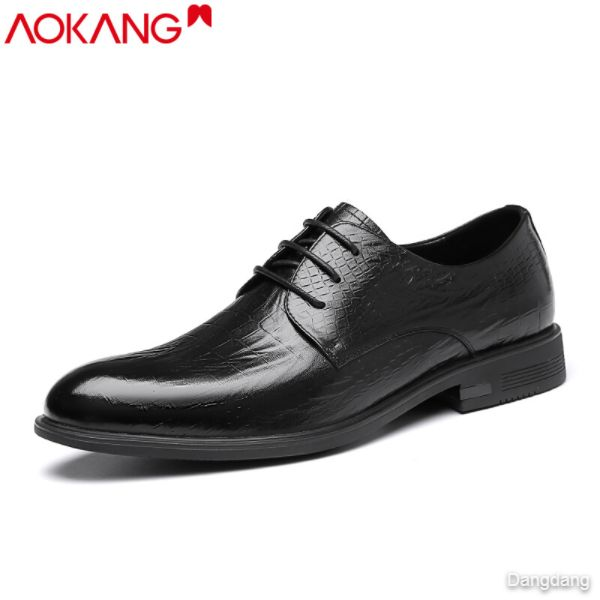 Aokang leather shoes men's spring business dress shoes black trend all-match men's casual men's