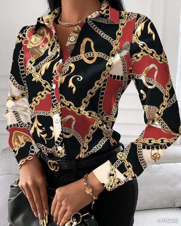 Chain Print Button Up Long Sleeve Blouse Elegant Turn Down Collar Print Shirt Ladies Vintage Blouses Top