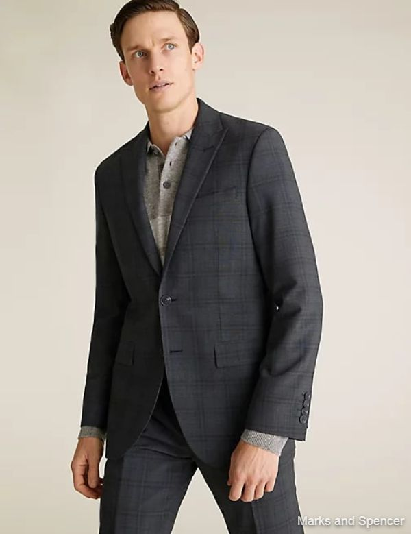 Charcoal Tailored Fit Wool Check Jacket