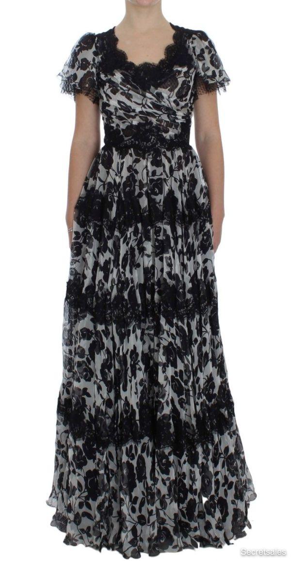 Dolce & Gabbana Black Silk Floral Lace Ricamo Ball Maxi Dress