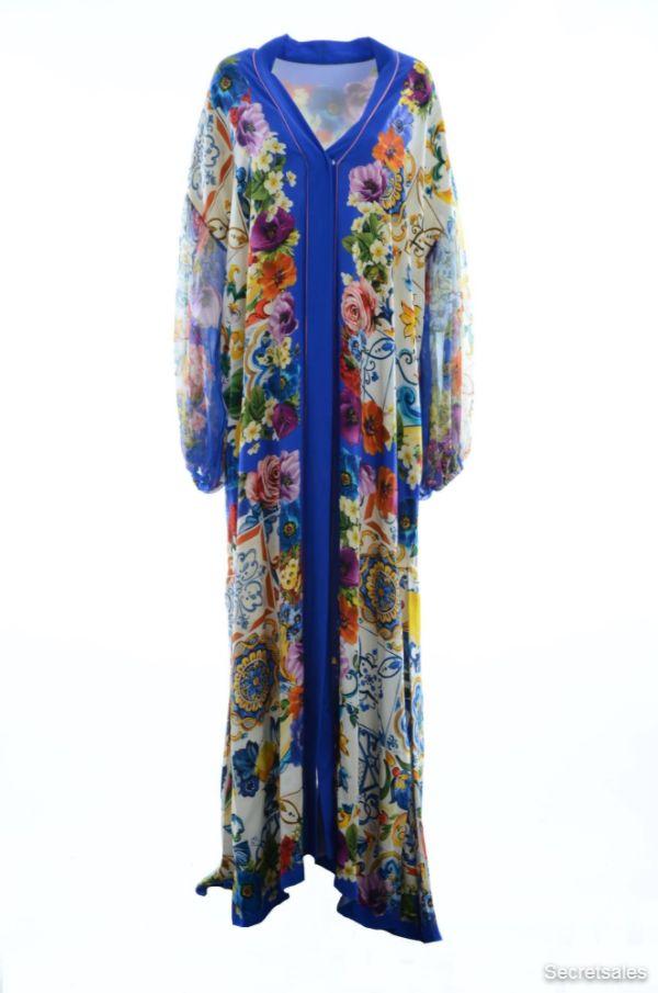 Dolce & Gabbana Women Silk Maiolica Floral Long Dress