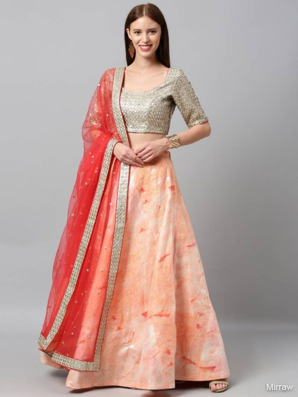 PEACH COLOURED SHIBORI PRINTED SEMI-STITCHED LEHENGA EMBELLISHED WITH SEQUINS & UNSTITCHED BLOUSE WITH DUPATTA