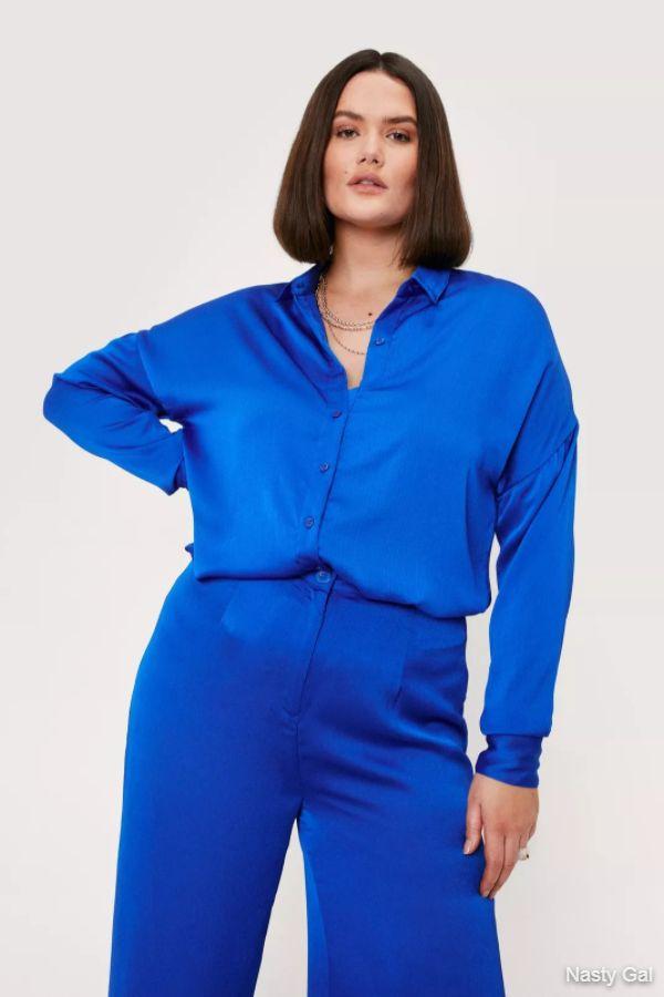 Plus Size Satin Button Down Shirt