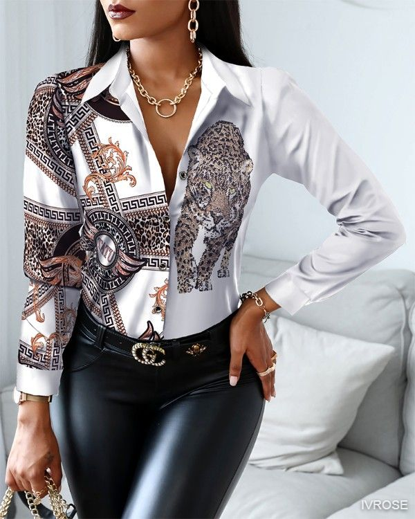 Scarf Animal Patterns Patchwork Button-up Top Long Sleeve Basic Blouse