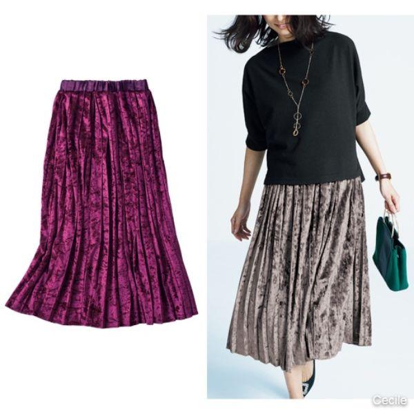 Velor pleated skirt