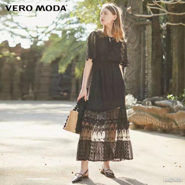 Vero Moda Women Crochet Lace Tie Neck High Waist Dress 32016Z502