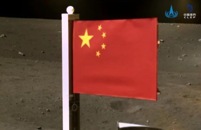 China, flag, moon, Stars and Stripes, China flag moon