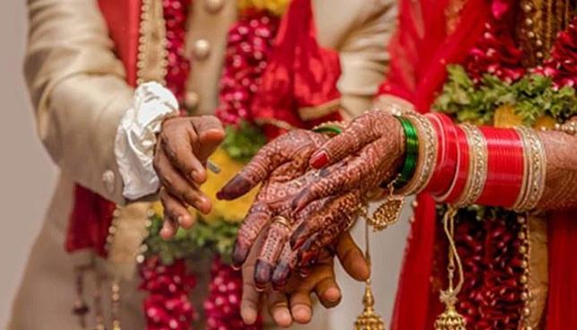 Indian bride, groom, wedding day
