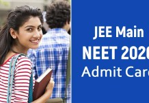 JEE NEET Admit Card 2020