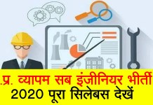 MP Vyapam Sub Engineer Syllabus 2020