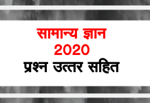MP Police GK In Hindi 2020