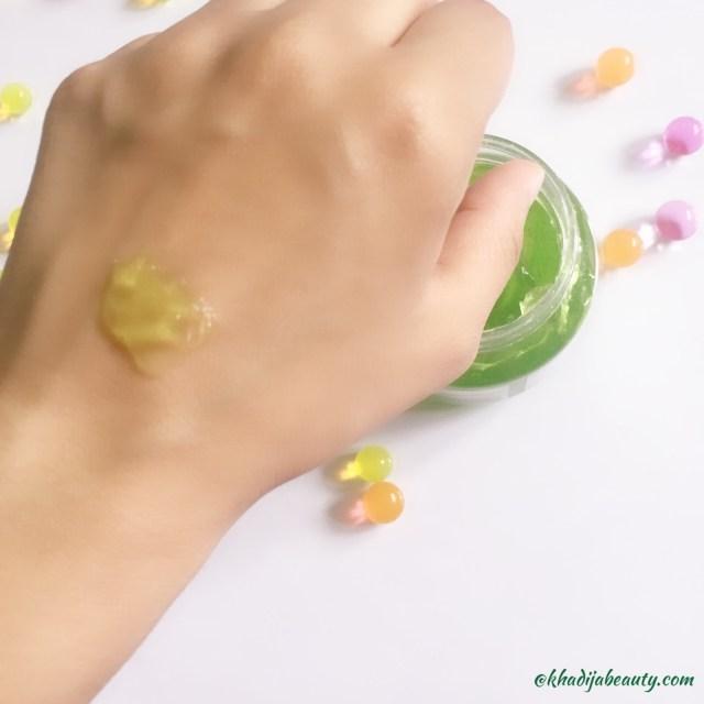 green bliss aloe vera scrub review, khadija beauty