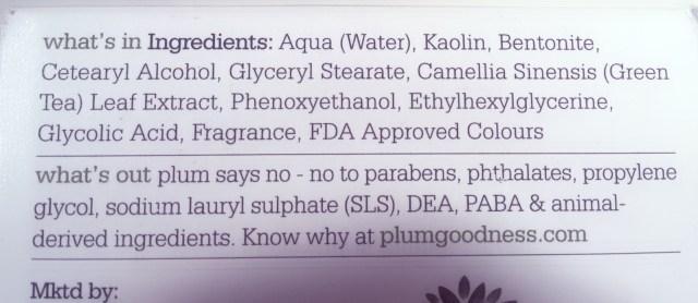 Plum green tea clear face mask, khadija beauty, ingredients