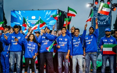 Kuwait Team Captain Khaled Al Mudhaf helps raise the flag at the inaugural FIA Motorsport Games in Rome