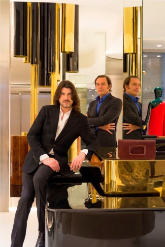 Stephane Rolland with architect Thierry Lemaire at the Stephane Rolland Abu Dhabi boutique