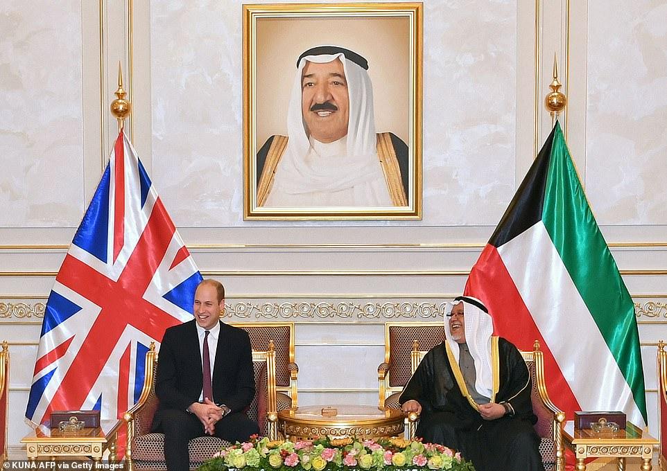 Prince William with Sheikh Ali al-Jarrah al-Sabah,