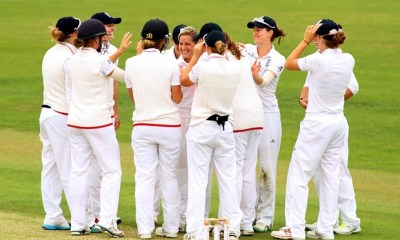 England players celebrates wicket of Alex Blackwell