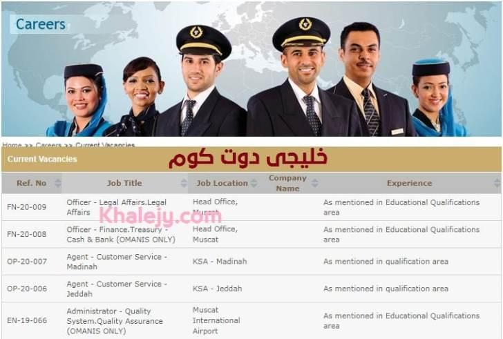 وظائف الطيران العماني 2020