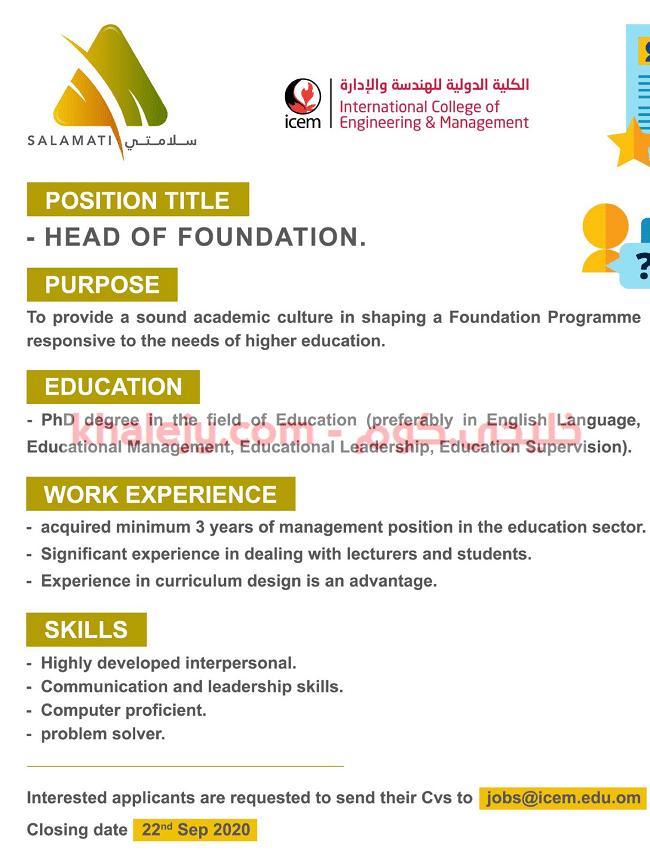 وظائف الكلية الدولية للهندسة والادارة في سلطنة عمان
