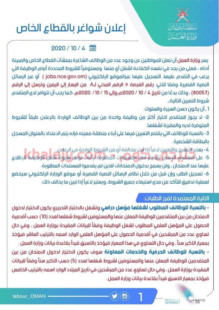 وزارة العمل إعلان وظائف القطاع الخاص في مختلف المجالات
