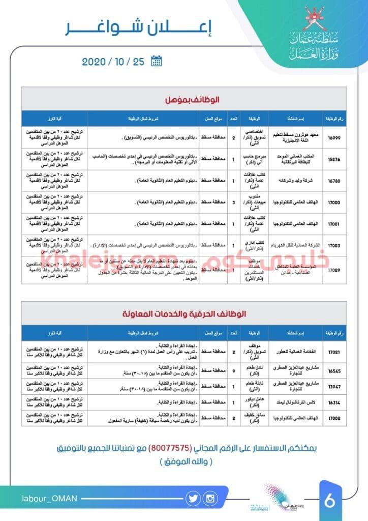 وظائف وزارة العمل العمانية