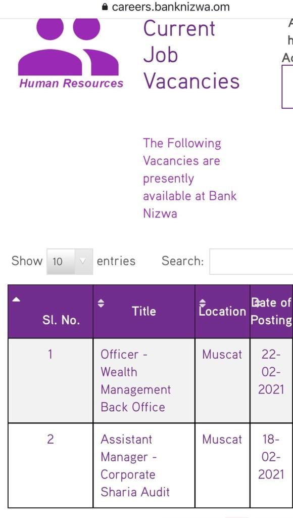 وظائف بنك نزوي سلطنة عمان 2021