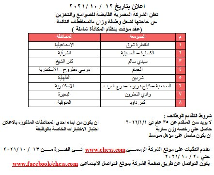 وظائف الشركة المصرية القابضة للصوامع والتخزين