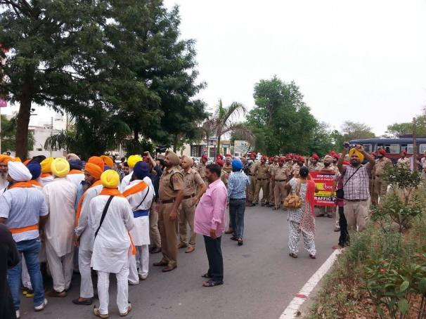 March departing road was blocked in Chandigarh