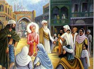 Guru Harkrishan Sahib in Delhi with the city in the grip of an epidemic. Guru Ji went all over the city through narrow lanes and gave succour to all in anguish without any discrimination.