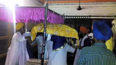 Prakash of Dhan Dhan Sri Guru Granth Sahib Ji Maharaj at the house of Bapu Surat Singh Khalsa in Hassanpur today.