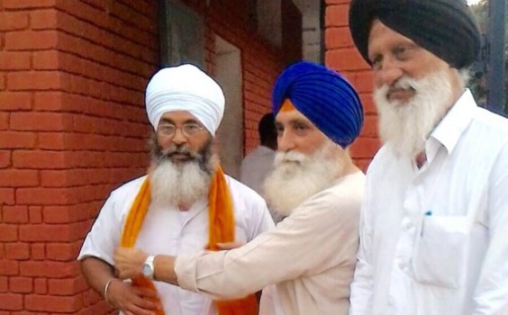 RP Singh receives Bhai Shamsher Singh outside Chandigarh Model Jail, Burail