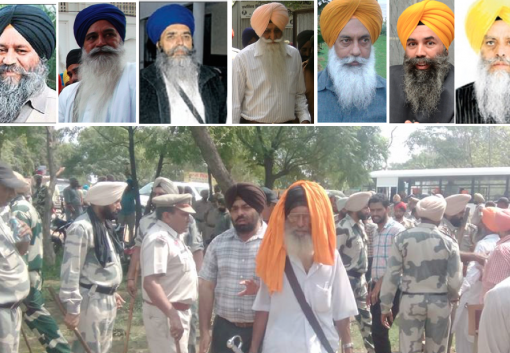 TOP: (L to R) Bhai Kulvir Singh Barapind, Bhai Amrik Singh Ajnala, Bhai Mohkam SIngh, Advo. Jaspal Singh Cheema, Jasvir Singh Khandur, Karnail Singh Peermohammad and Gurdeep Singh Bathinda. | Bottom: Police has blocked the main road leading to Hassanpur preventing Sikhs from heading towards Bapu Surat Singh Khalsa's house