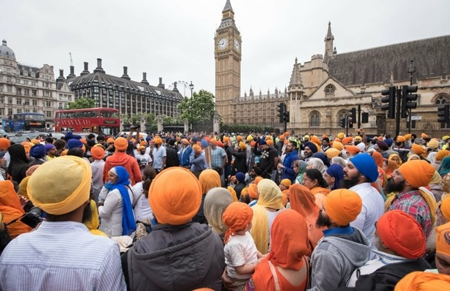 Sikhs Blocked off London protested outside parliament peacefully.