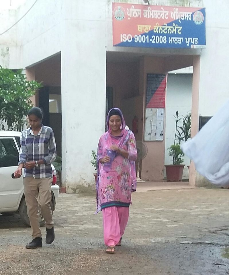 Bibi Sandeep Kaur after being getting released from Police Station.