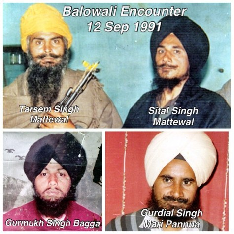 12 September 1991 - Bolowali Encounter Bhai Seetal Singh Mattewal Bhai Tarsem Singh Mattewal Bhai Gurdial Singh Bhai Gurmukh Singh Bagga Bhai Gurnam Singh Secretary Mattewal