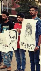 Silent protest by artists in Chandigarh sector 17 in support of Bapu Surat Singh Ji Khalsa's (7)