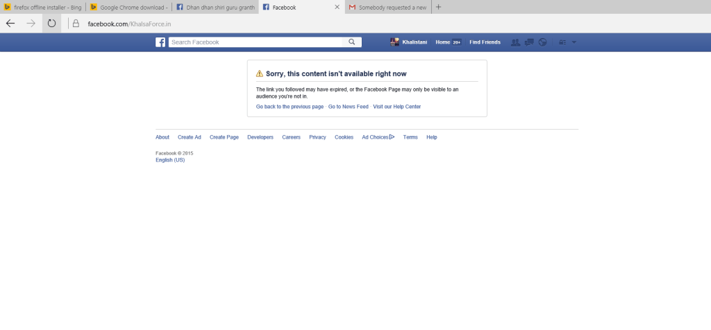 Page of Khalsa Force blocked in India