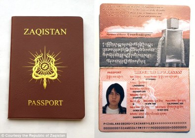 The Zaqistan State Department accepts applications for Zaqistan Passports, for which anyone is welcome to apply - the application fee is $40 Read more: http://www.dailymail.co.uk/news/article-3282468/NYC-man-buys-land-Utah-creates-republic-Zaqistan-complete-passports-robot-sentry-60-miles-nearest-town.html#ixzz3sxrLWDlg Follow us: @MailOnline on Twitter | DailyMail on Facebook