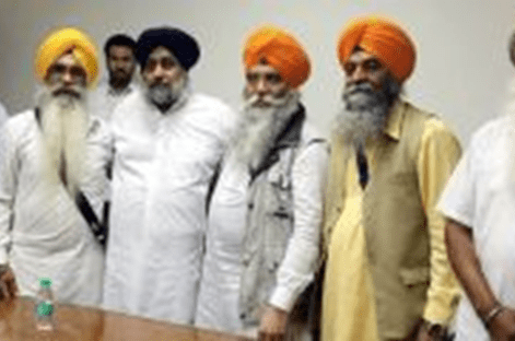 Raghbir Singh and Paramjit Singh 'Dhadi' from UK, members of International Panthik Dal (IPD) led by Jasbir Singh Rode, meeting with Sukhbir Badal.  Jagowale and International Panthik Dal have held meetings together.  Both condemn the Sarbat Khalsa.