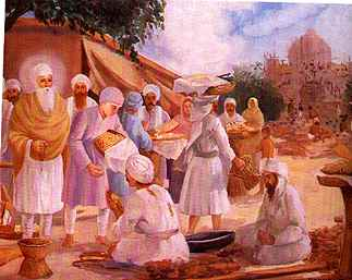 Bhai Jetha (Guru Amardas) used to earn his livlihood by selling boiled grains. Very often he would freely give away the boiled grains to the needy and to the poor labourers. Guru Amardas was highly impressed by his charitable nature and blessed the young boy. Ultimately the divine succession was bestowed on him, he was named Ramdas and was installed as the fourth Guru (Nanak).