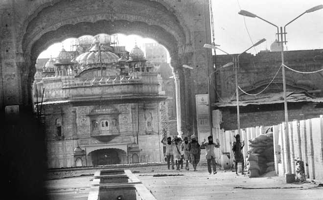 Abject Surrender Terrorists coming out of the Golden Temple, Amritsar, during Operation Black Thunder-II.
