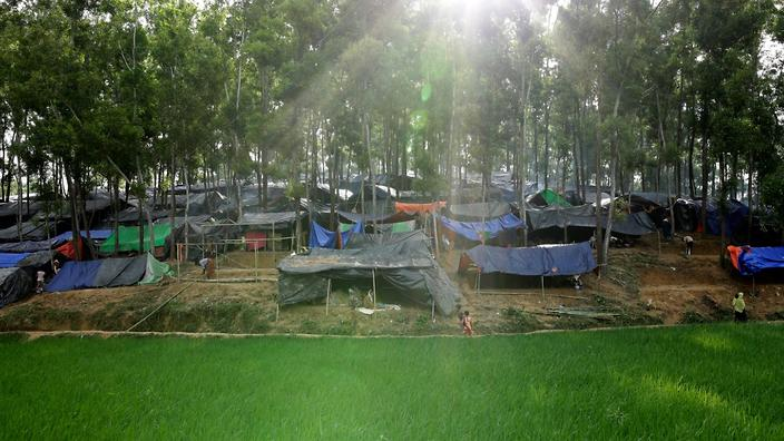 A view on a newly built camp in Ukhiya, Cox's Bazar, Bangladesh, 11 September 2017 (AAP)