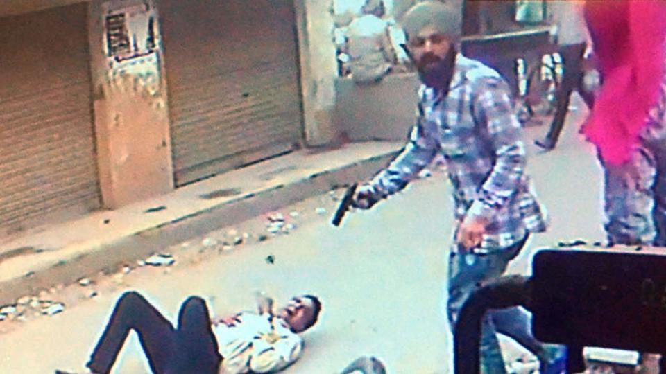 A CCTVgrab showing the murder of Vipin Sharma, the district president of Hindu Sangharsh Sena in Amritsar.