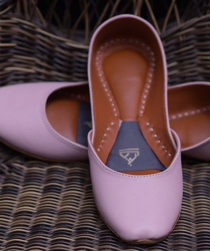 Plain Leather Khussa Baby Pink