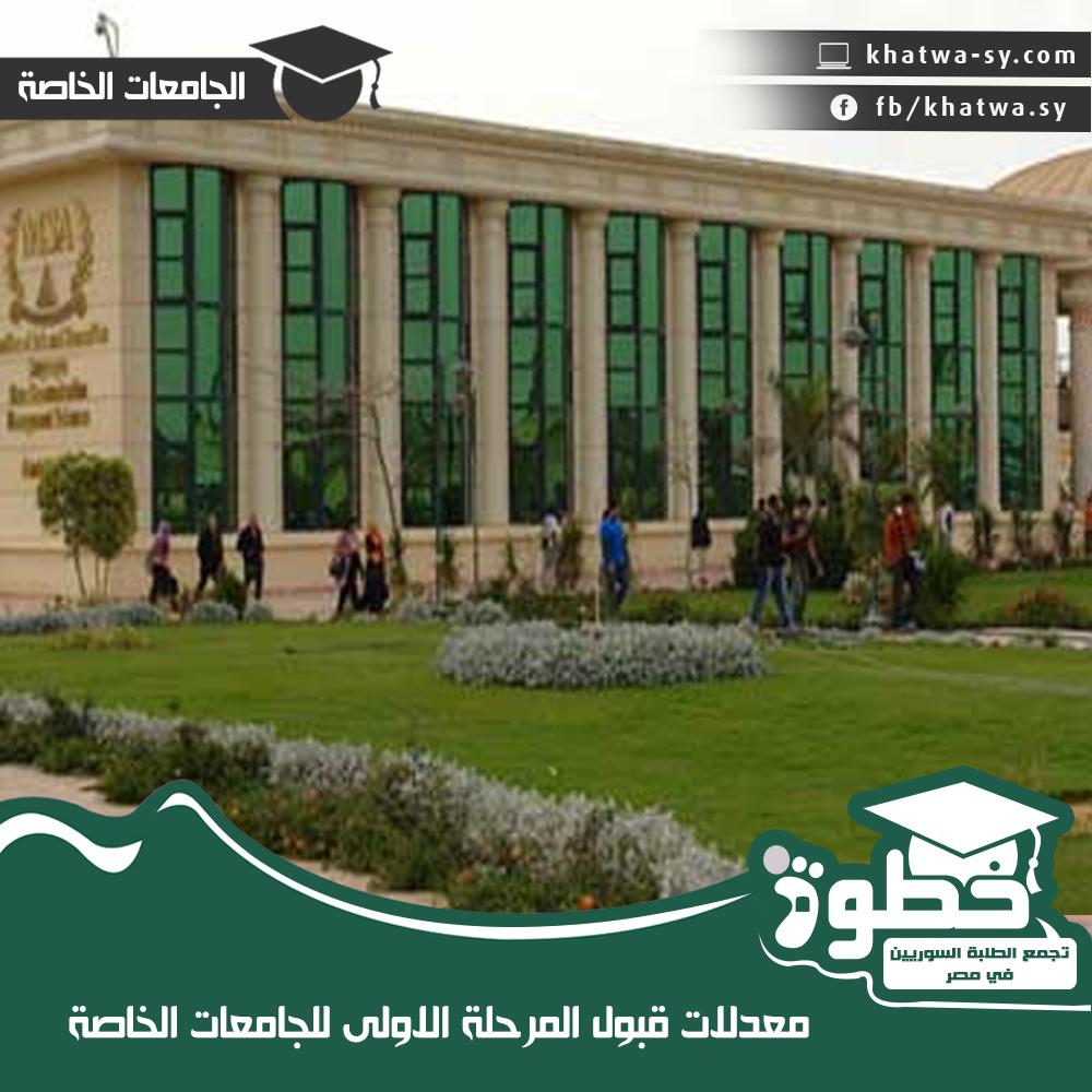 نسب قبول المرحلة الاولى للجامعات الخاصة للعام 2014