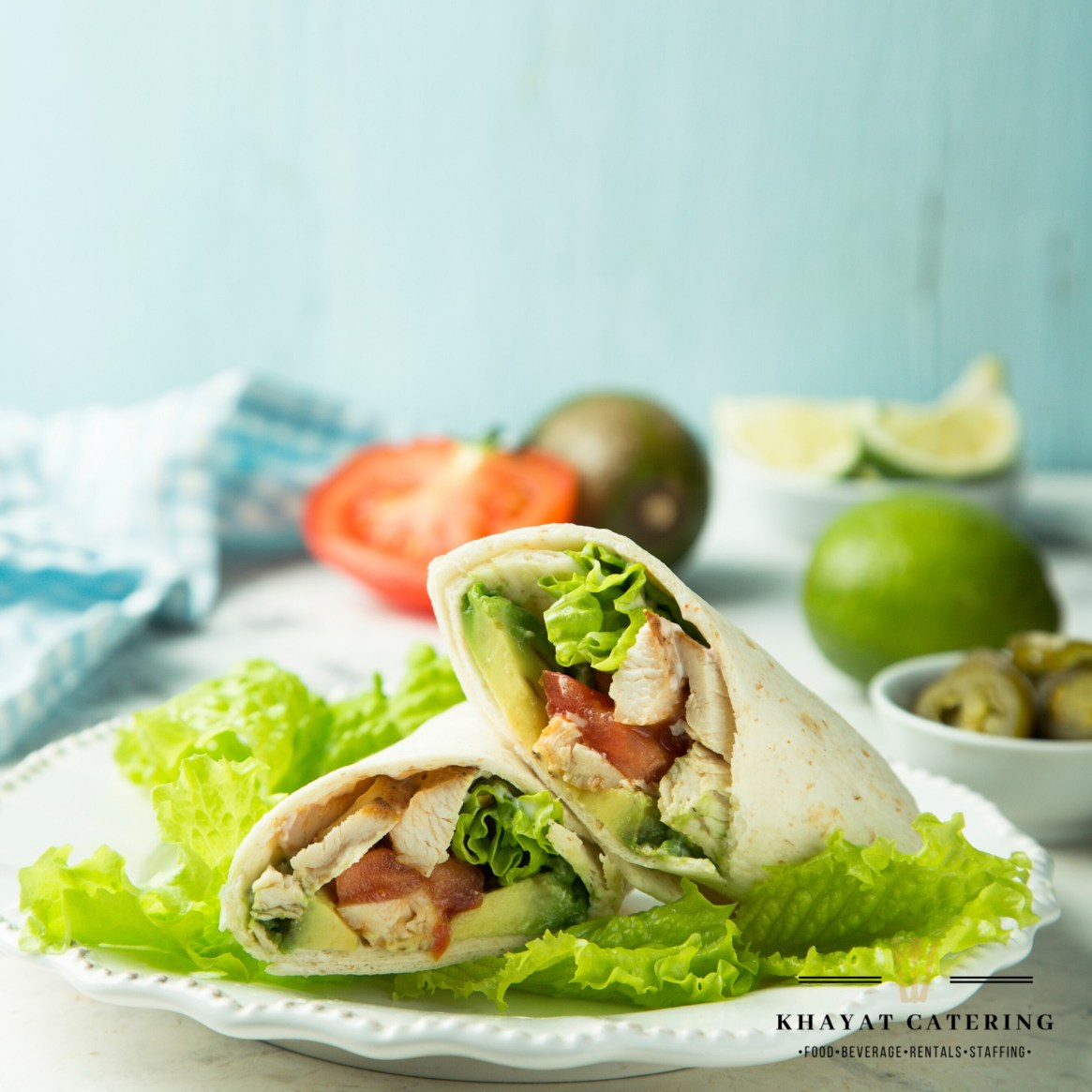 Khayat Catering rilled chicken Caesar wrap