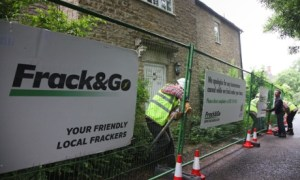 David Cameron's home in Dean, Oxfordshire, being turned into a 'fracking site' in protest at shale gas development. Photograph: Kristian Buus/Greenpeace/PA