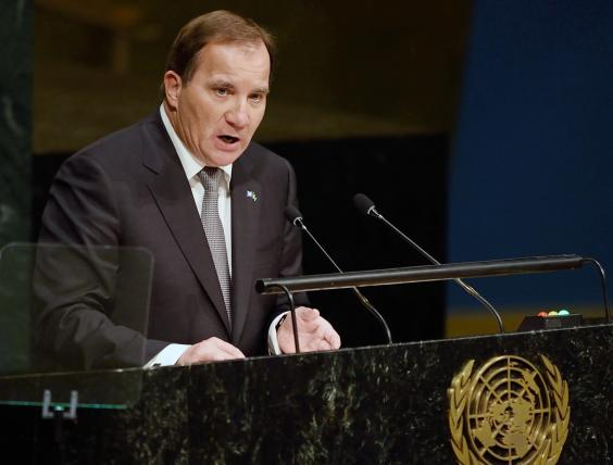 Swedish Prime Minister Stefan Löfven announces his climate plans at the UN General Assembly