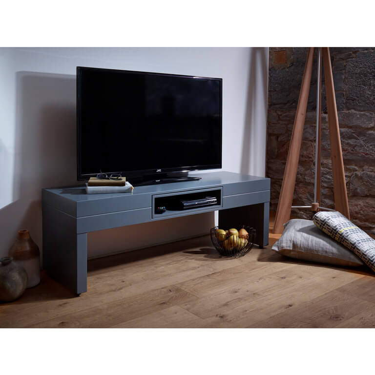 Savoye Low Tv Stand Media Matt Graphite Grey Fads Co Uk