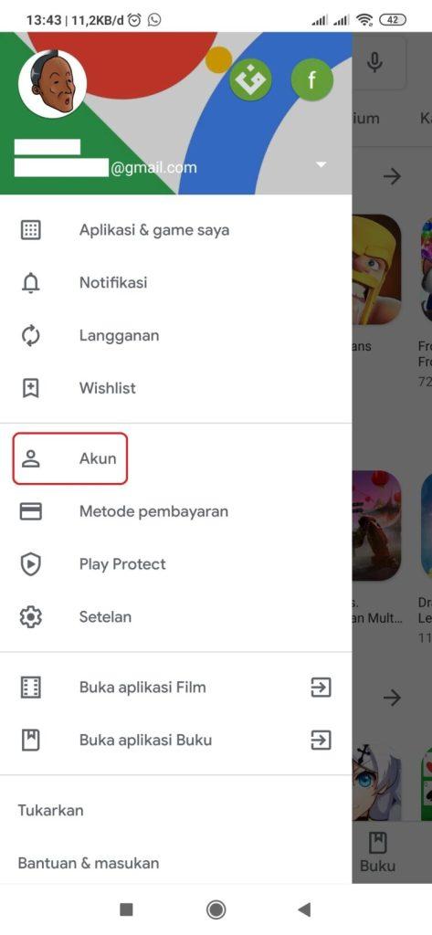 Cara mengganti akun email di playstore